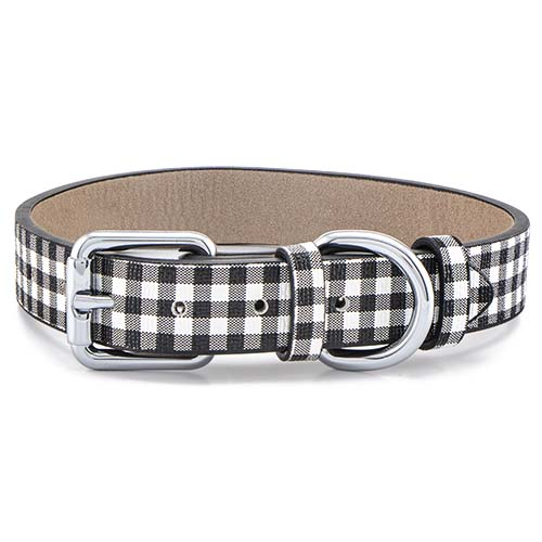 CP2002 Black and White Gingham Pet Collar MED 12 16 copy